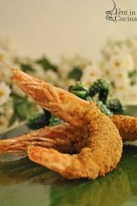 Gamberi in crosta di pistacchi